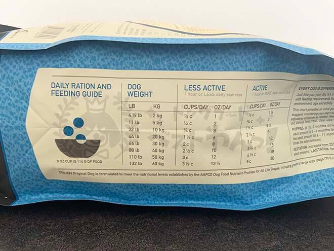 オリジンドッグフードの給餌量の画像