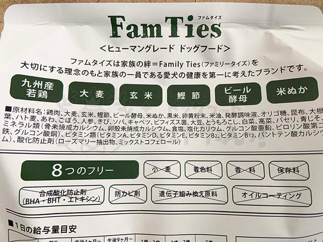 FamTies(ファムタイズ)の原材料記載