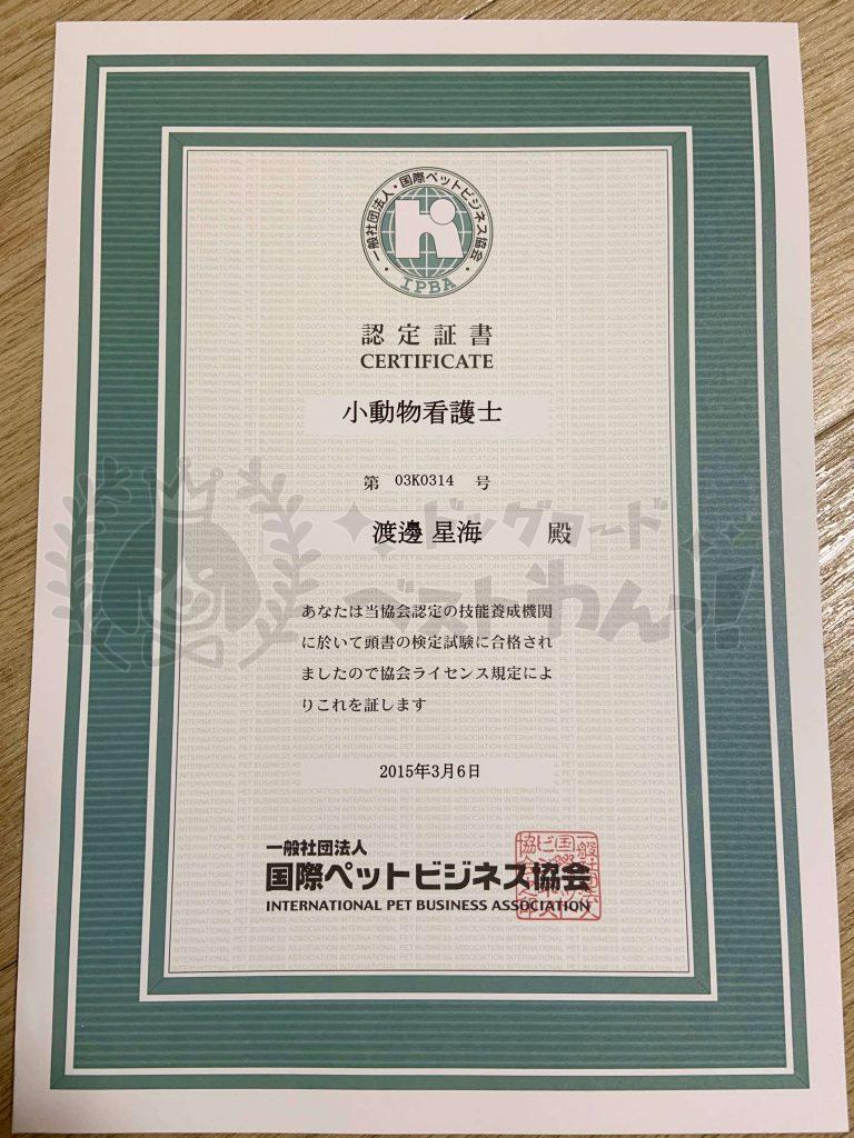 国際ペットビジネス協会小動物看護士資格認定証書
