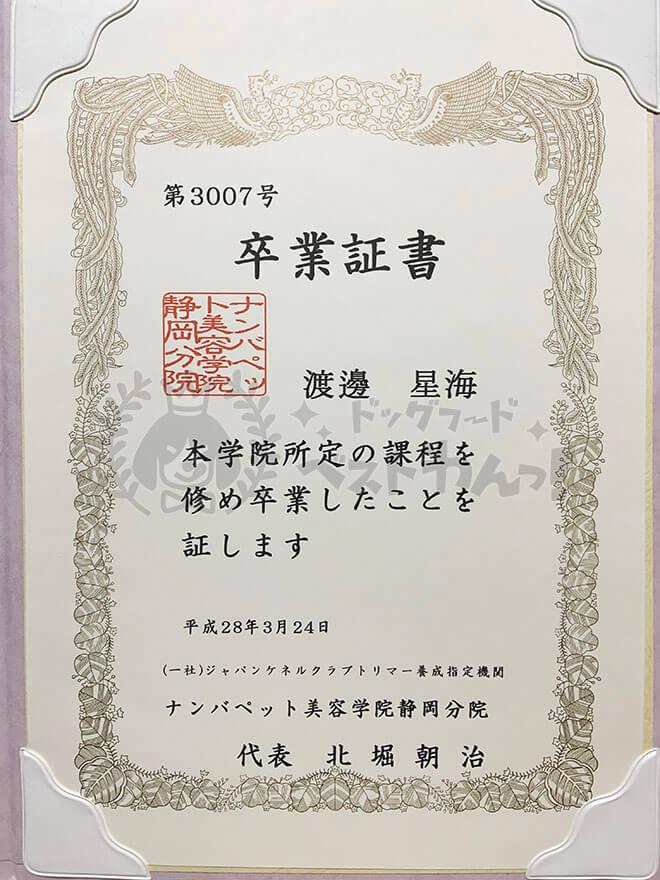 渡邊星海のナンバペット美容学院静岡分院の卒業証書